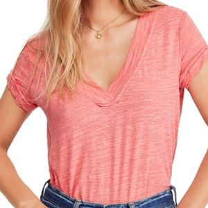 Free people V-Neck Distressed Knit T-Shirt Camelia
